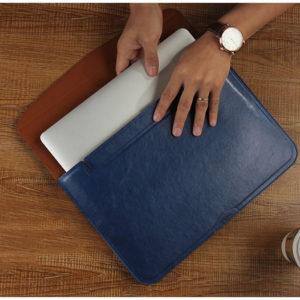 Túi da đựng macbook màu xanh nước