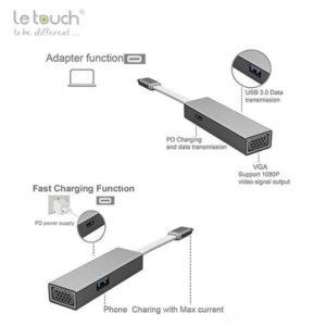 Cổng chuyển đổi Hub USB Type-C Le Touch 3.0 VGA