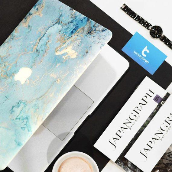 Case Macbook vân đá xanh