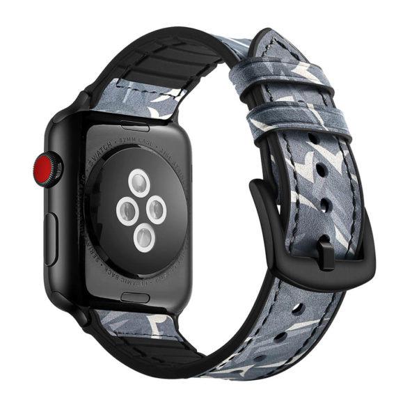 Dây Đeo Da Jinya Camouflage Cho Apple Watch Đen Sau
