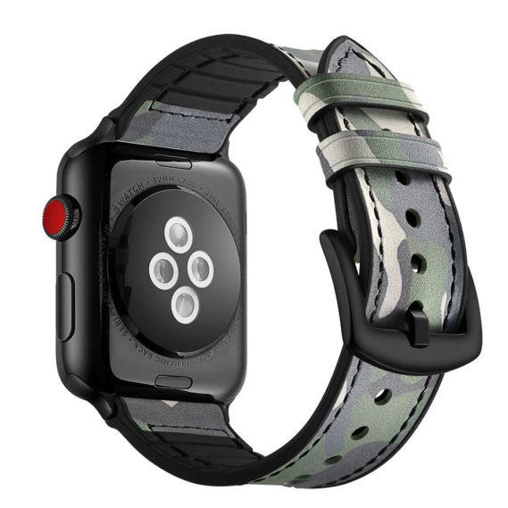 Dây Đeo Da Jinya Camouflage Cho Apple Watch La Sau
