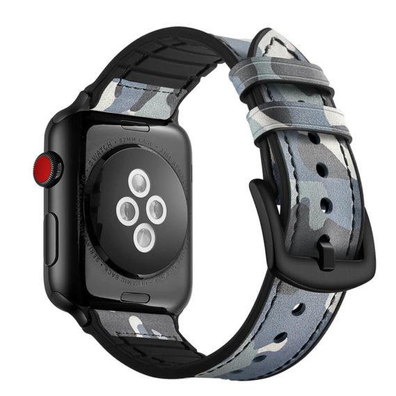 Dây Đeo Da Jinya Camouflage Cho Apple Watch Xanh Sau