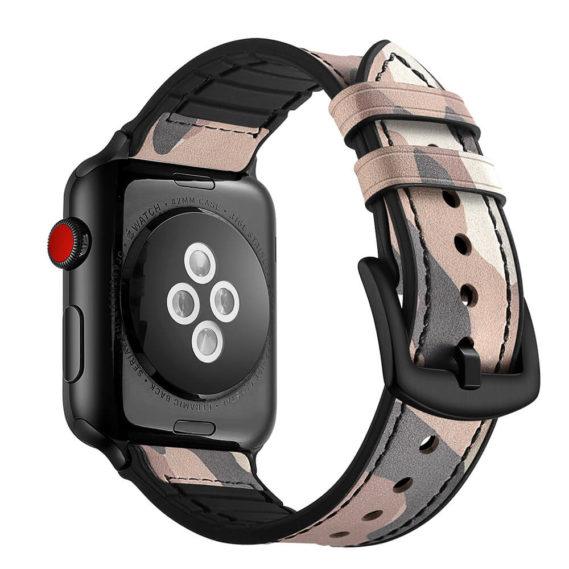 Dây Đeo Da Jinya Camouflage Cho Apple Watch Hồng